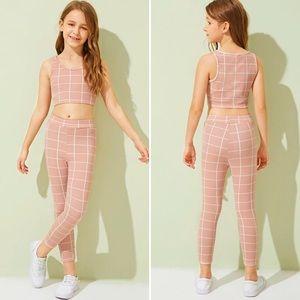 Girls Grid Tank Top & Pants Set Sz 6-7 in Pink